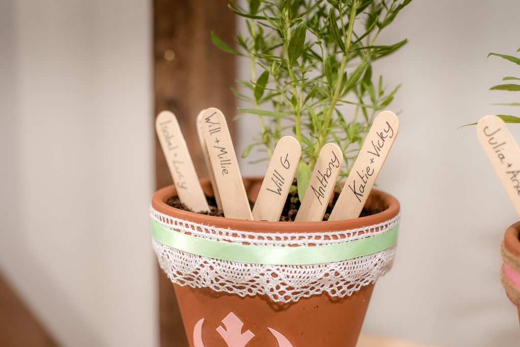 wedding seating flower pots