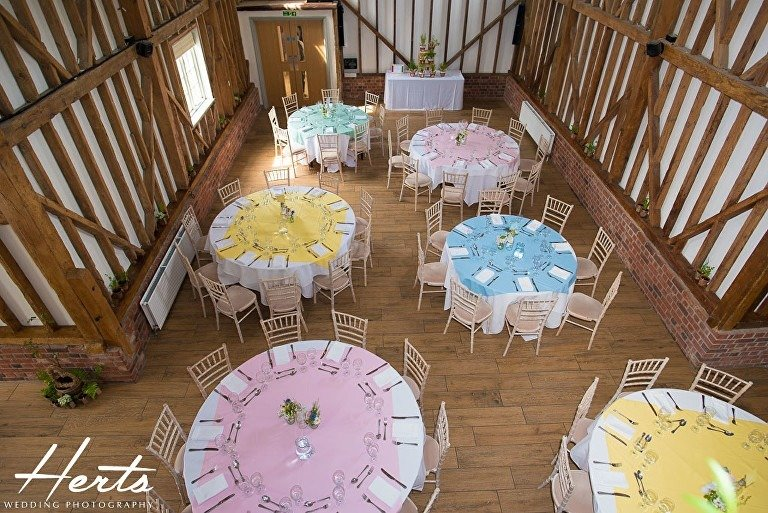 Wedding table layout at milling barn