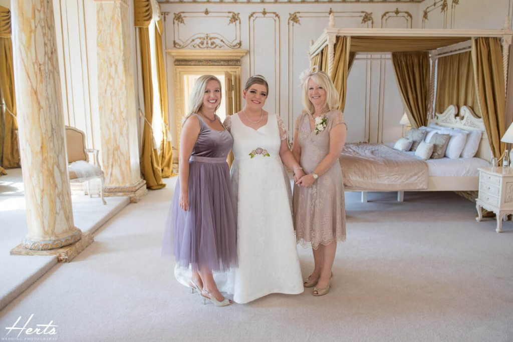 The bride, her sister and mother at Gosfield Hall