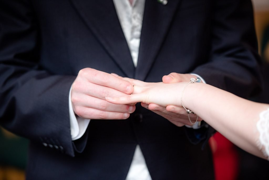 wedding ring placed on the brides finger
