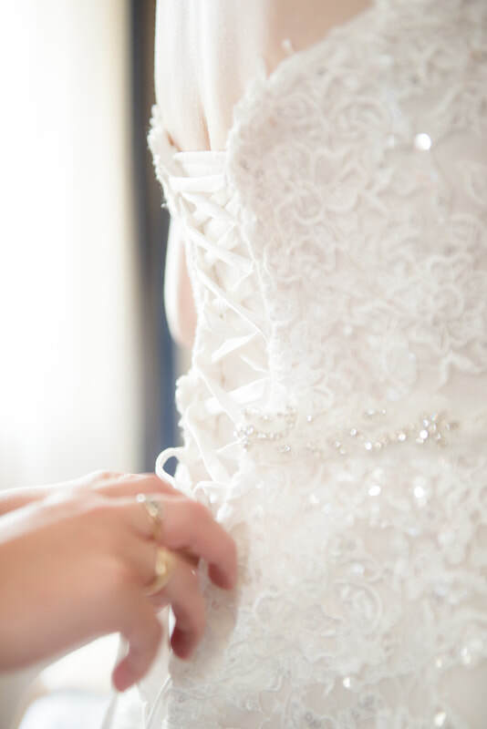 The beautiful details on the back of the dress