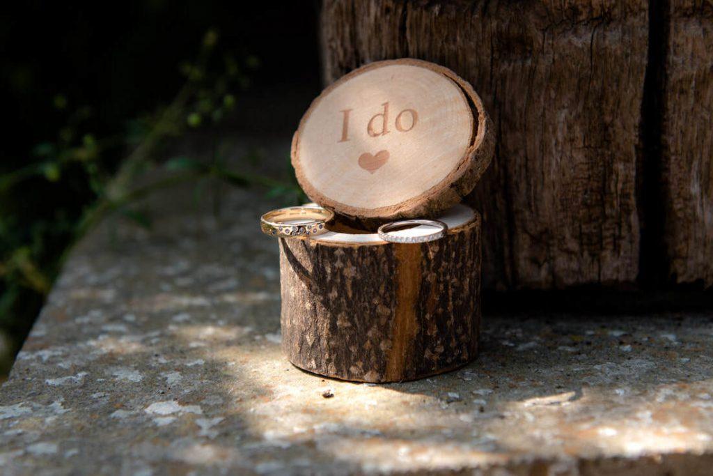 Wedding rings in a wooden presentation box