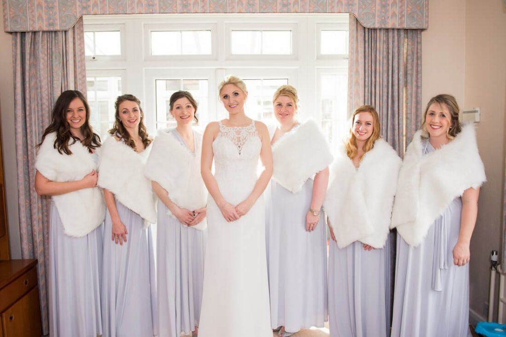 The bridal party before heading to the church