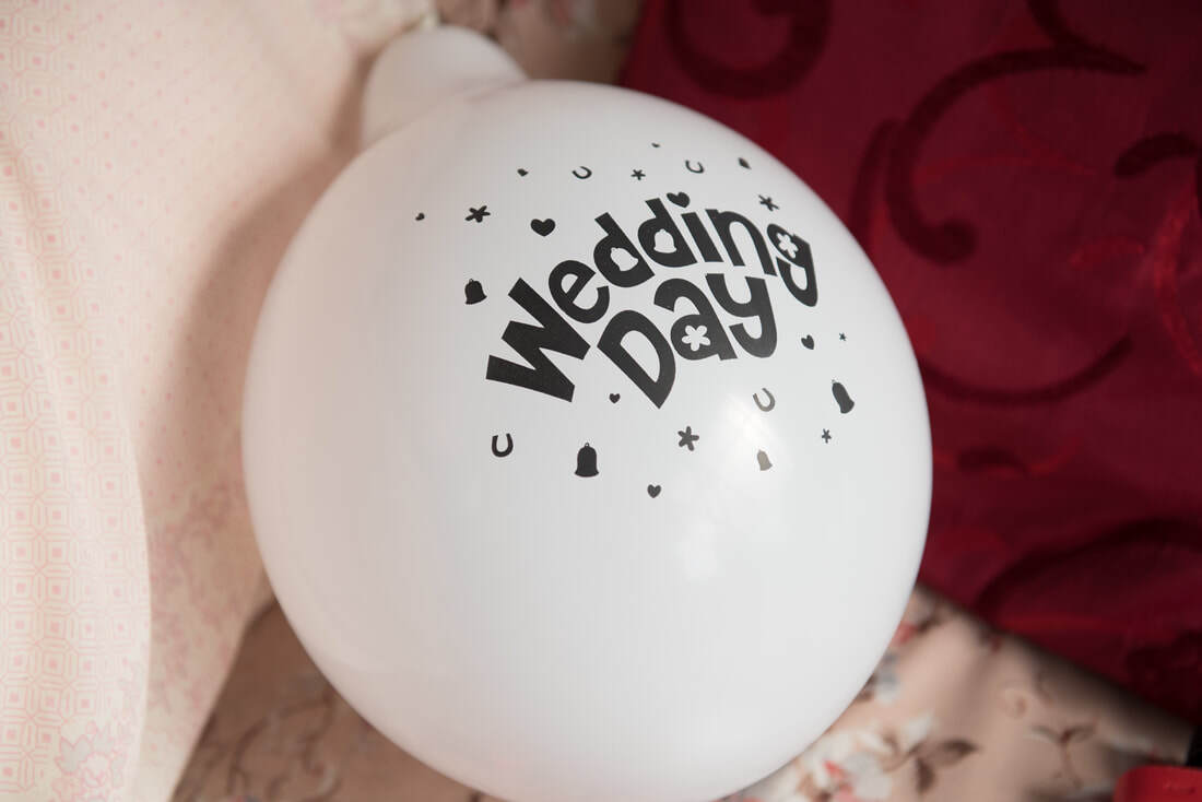 Wedding Day White Balloons with Black Text