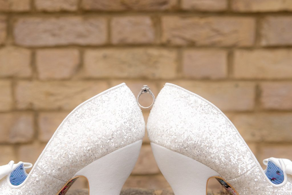 Engagement Ring Balanced between 2 shoes