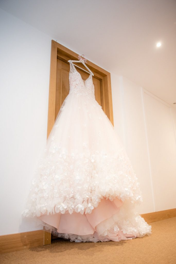 The wedding dress with pink