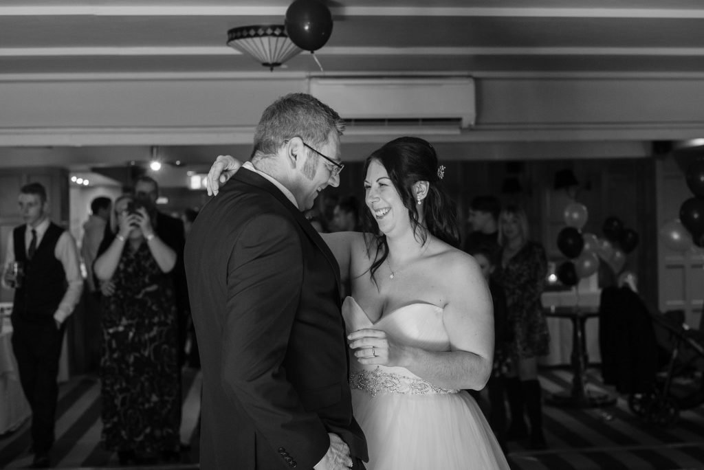 The bride and groom first dance at the cromwell hotel stevenage