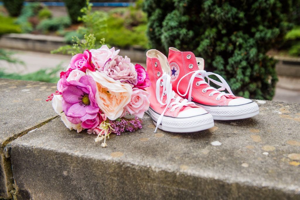 Wedding Bouquet and Converse Shoes