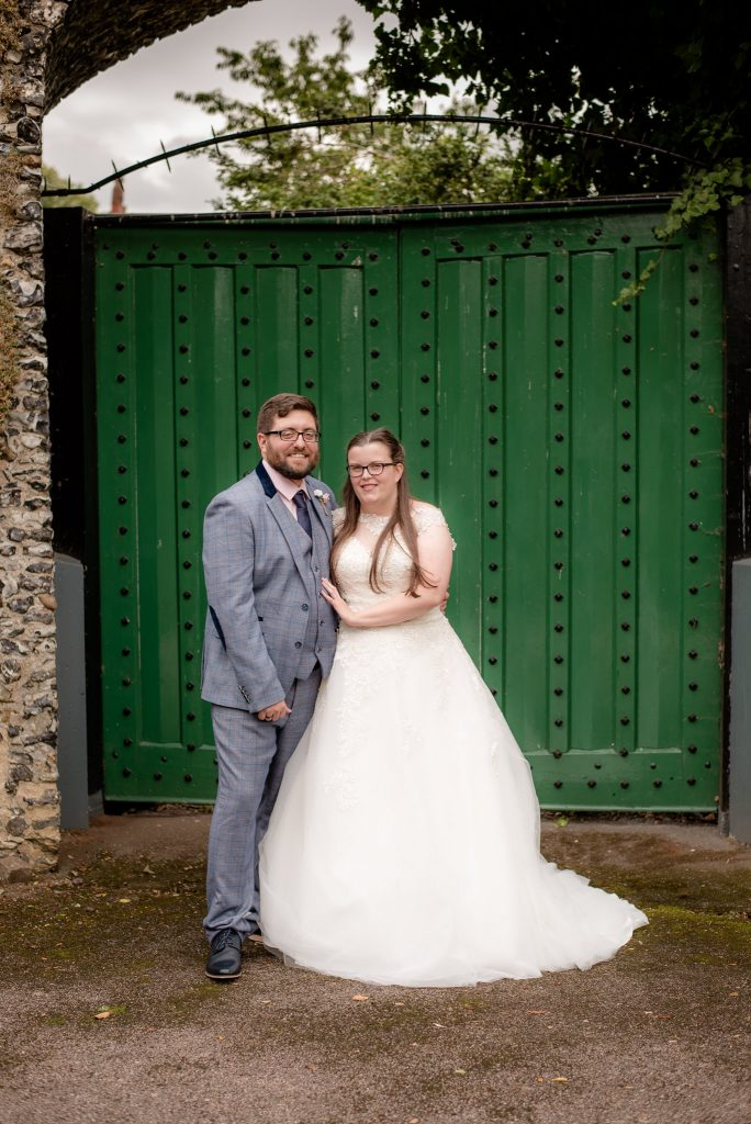 The bride and groom at hertford castle