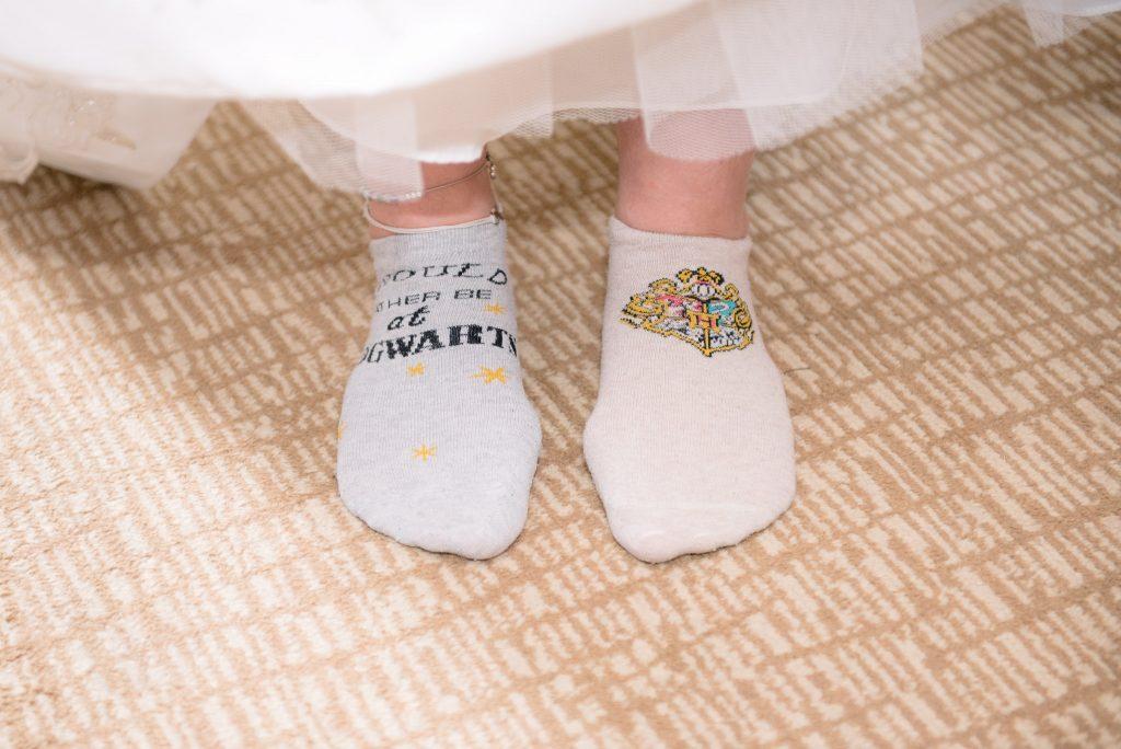 The bride wearing Harry Potter Socks