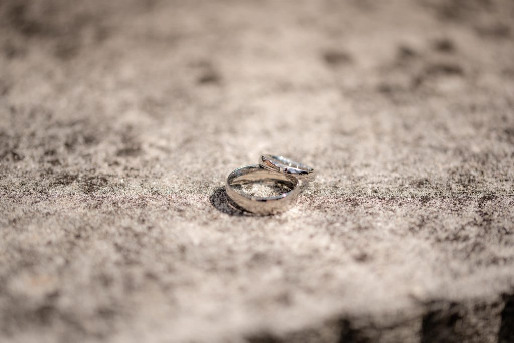 A shot of the two wedding rings