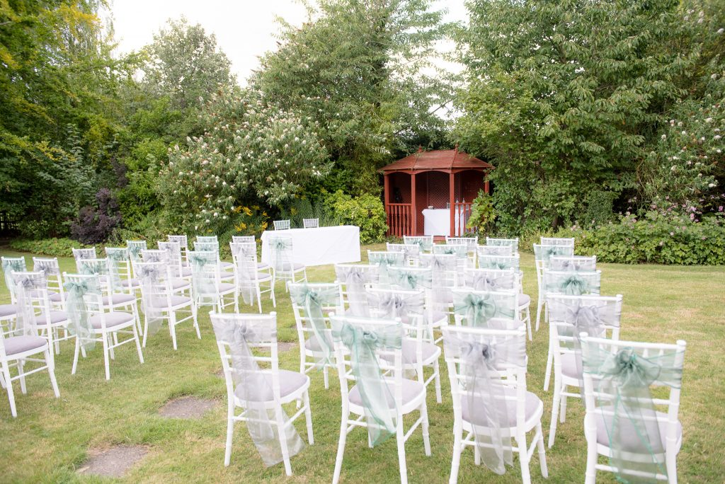 Outdoor ceremony setup at Letchworth Hall Hotel