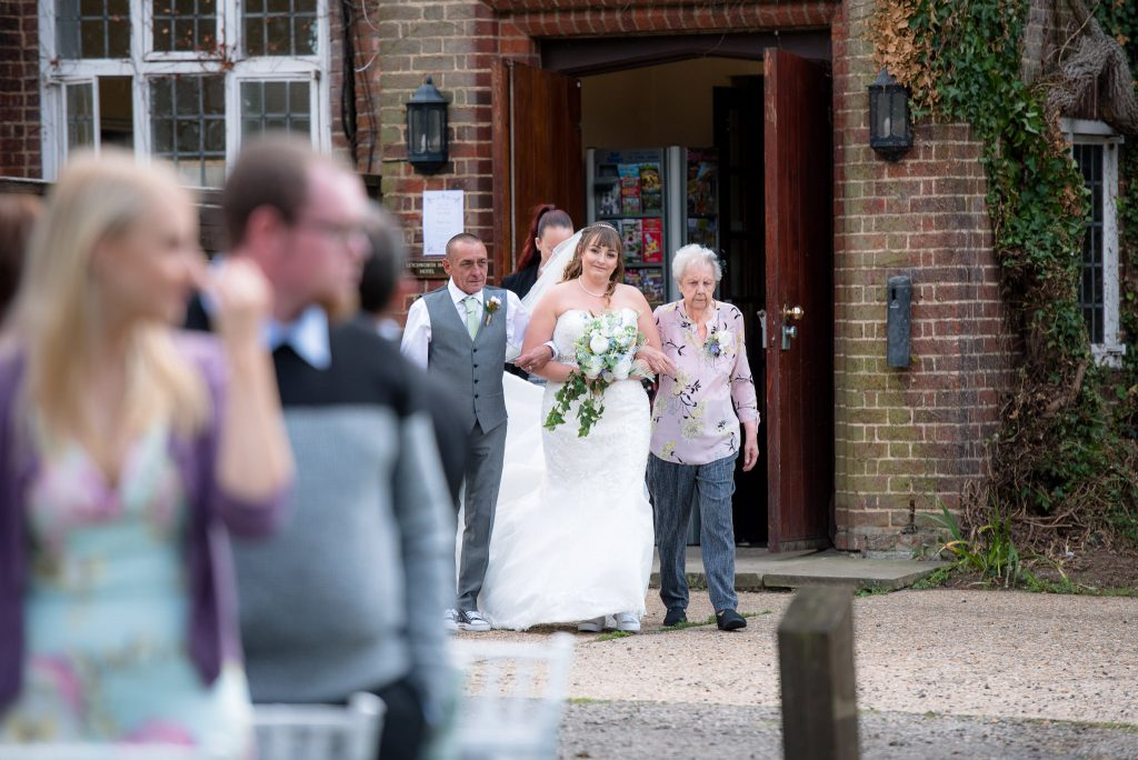 The bride leaving the letchworth hall hotel