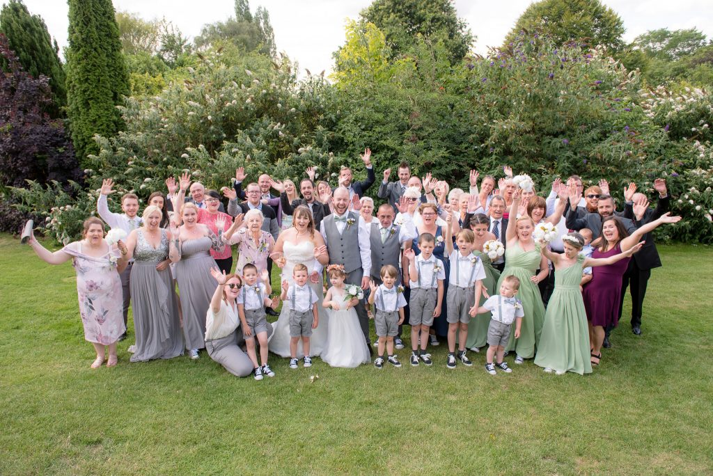 Group wedding photo at Letchworth Hall Hotel