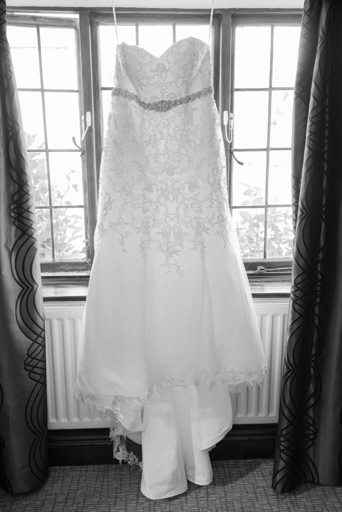 A wedding dress in black and white