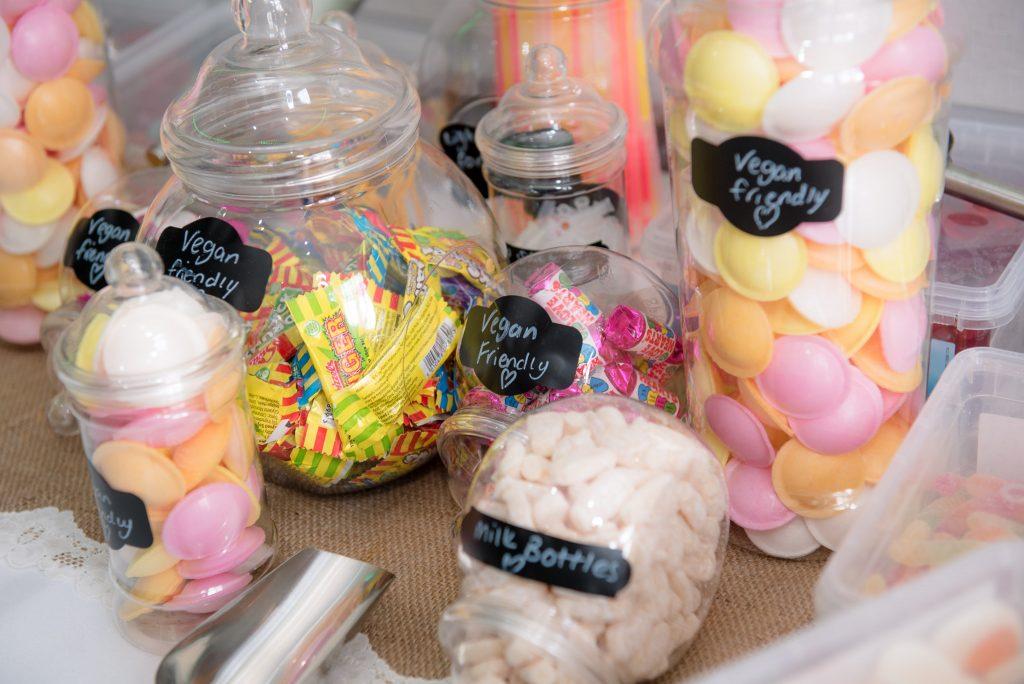 The sweet corner in multiple jars