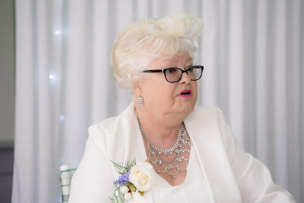 A wedding guest at Letchworth Hall Hotel
