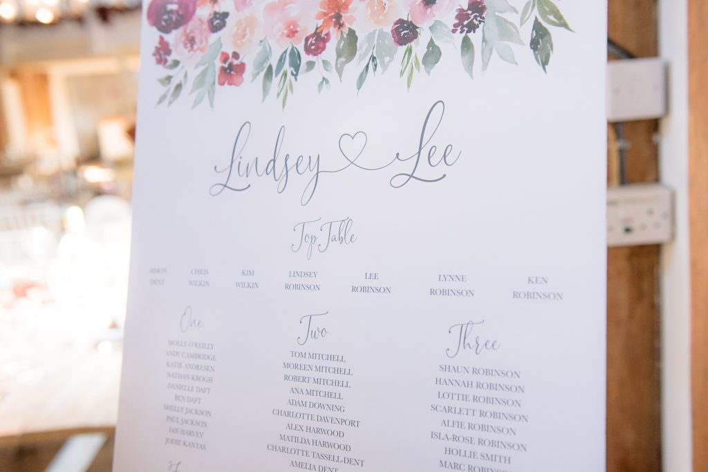 The table plan at milling barn