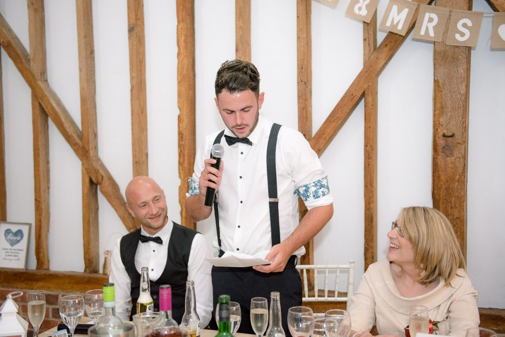 The brother of the bride delivers his wedding speech