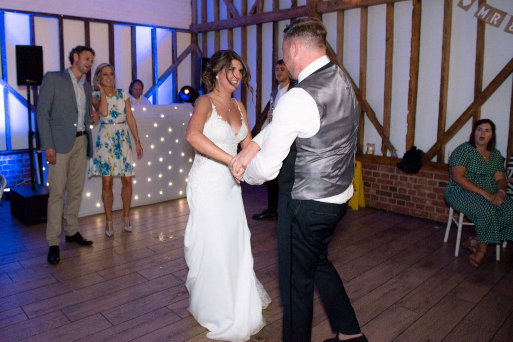 The first dance as husband and wife at milling barn