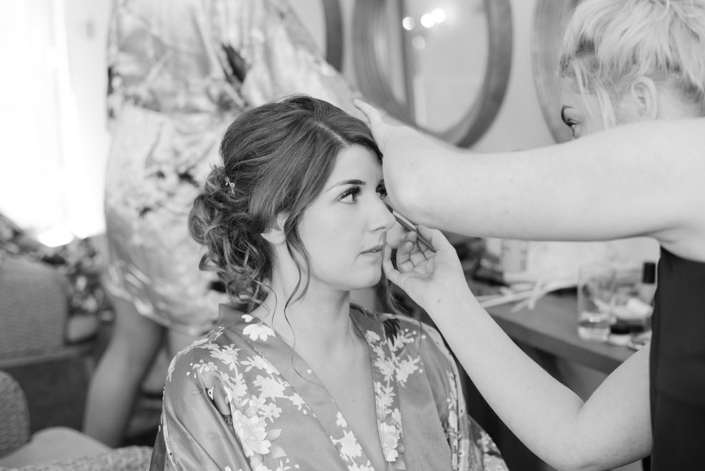 bridal preparations at milling barn