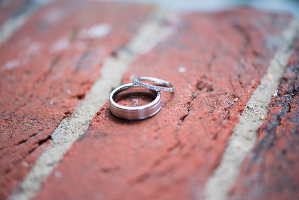 A detailed shot of the wedding rings
