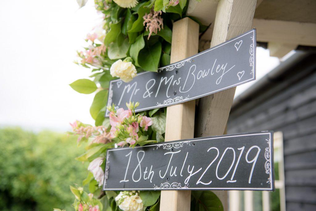 A wedding signpost outside Milling Barn