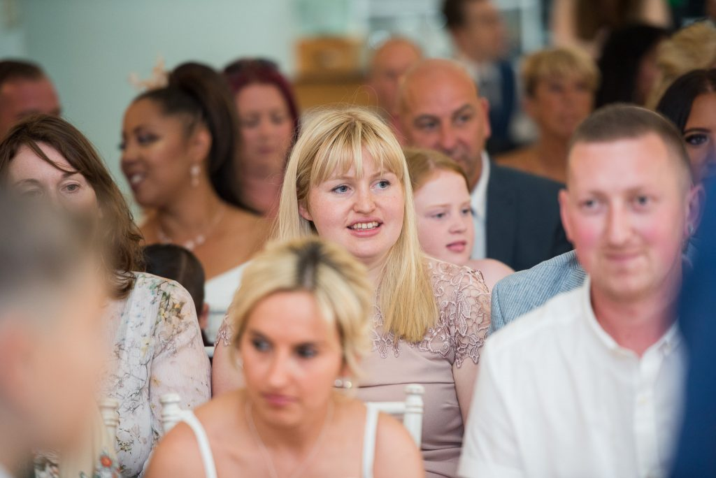 Wedding guests at Milling Barn