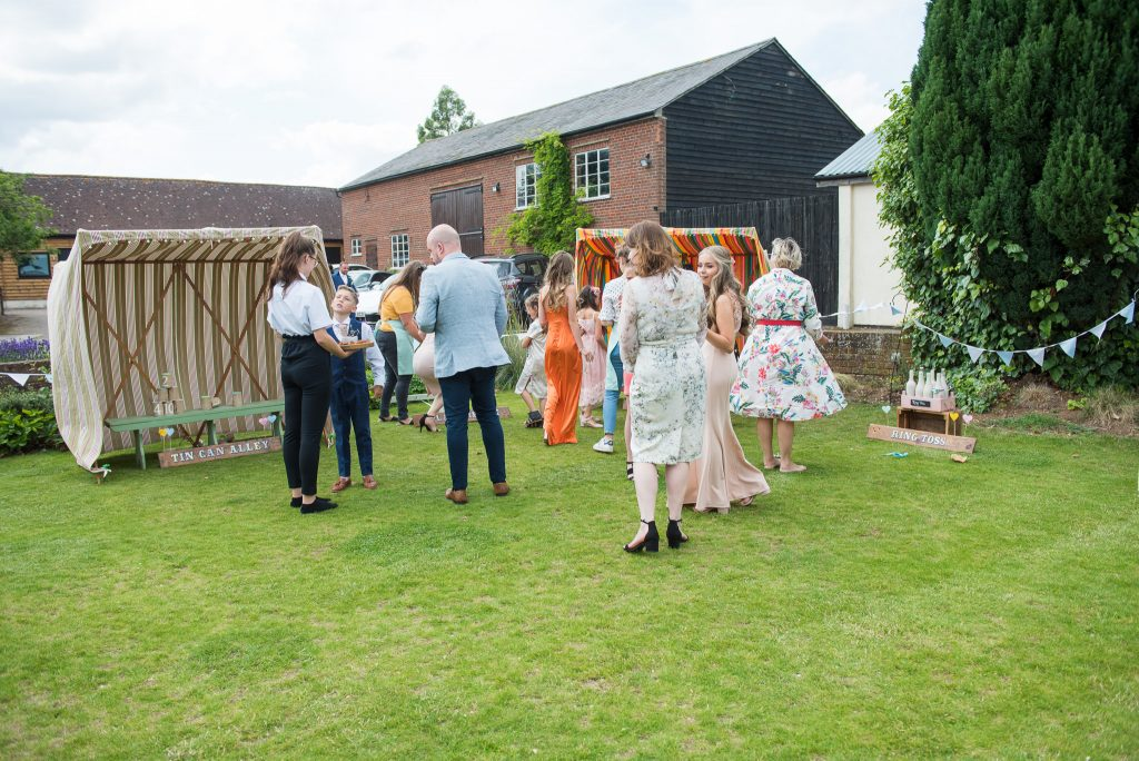Guests playing garden games at Milling Barn