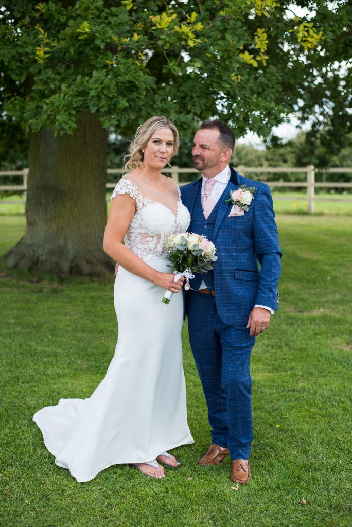 A photograph of the bride and groom