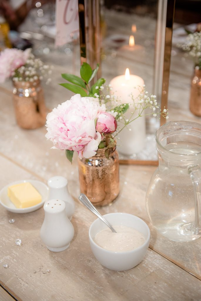 Table decorations at Milling Barn
