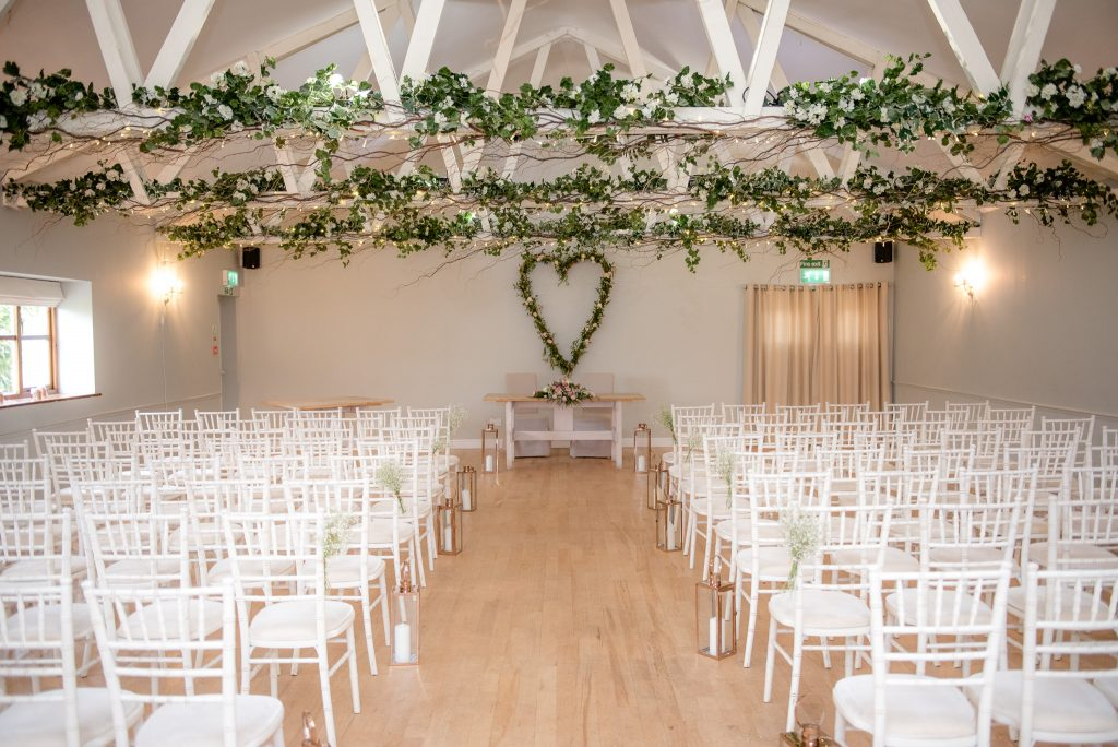 Wedding ceremony room at milling barn