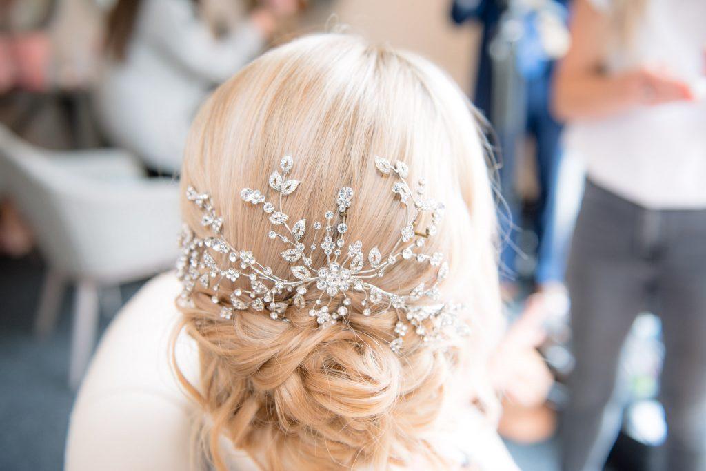 A close-up shot of the bride