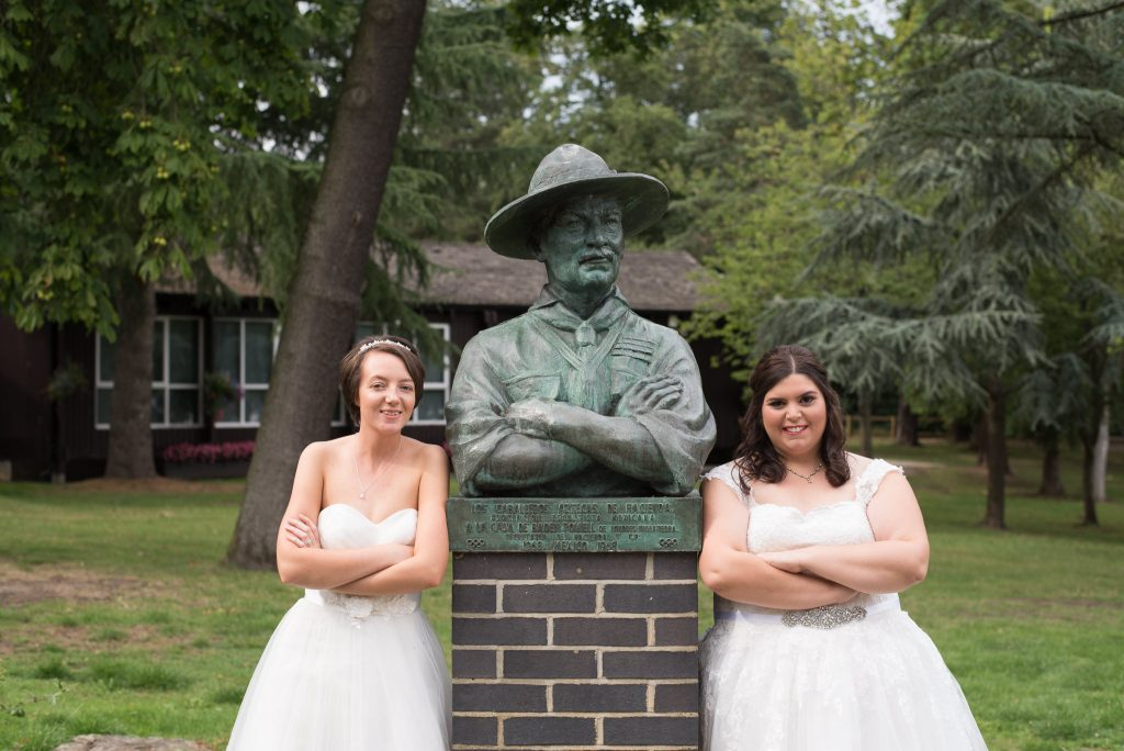 A fun photo with the two brides at Gilwell Park Wedding Venue