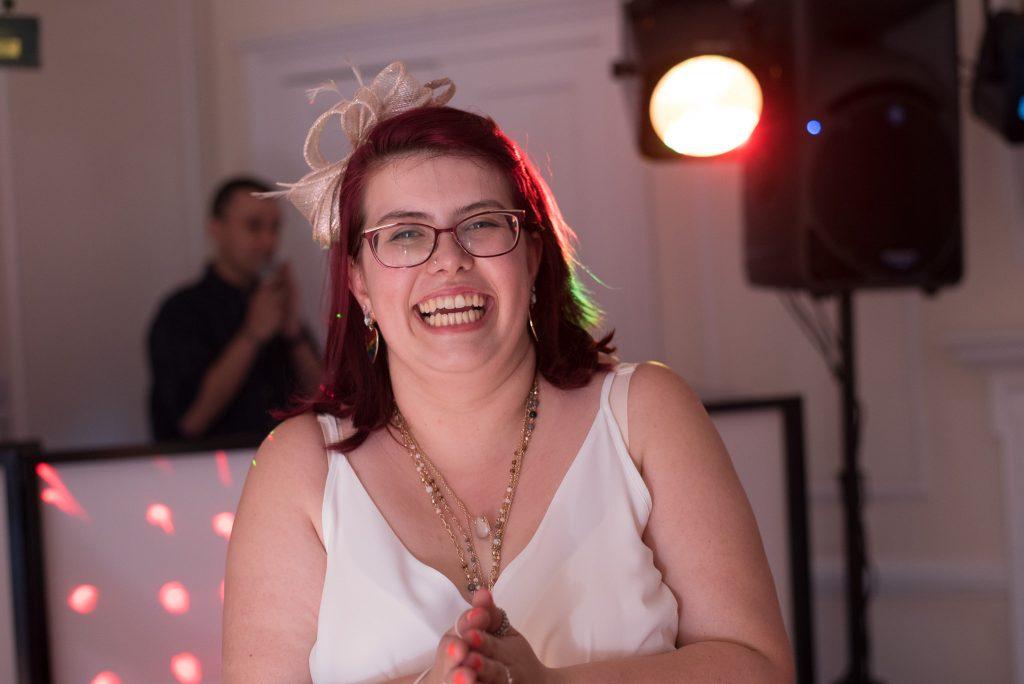 A wedding guest enjoying herself