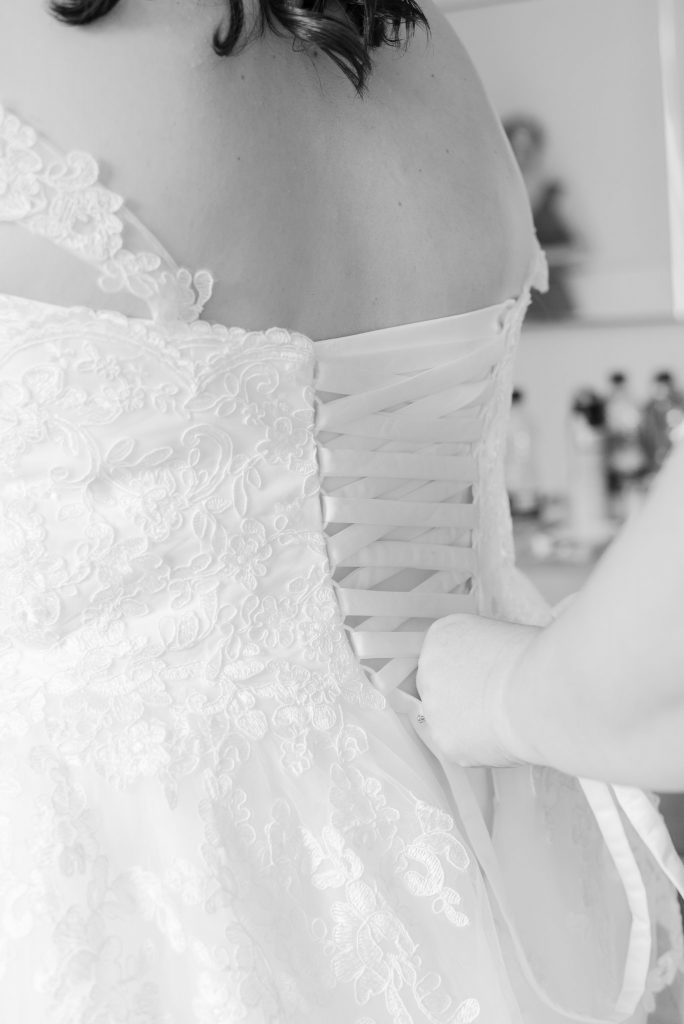 Black and white photo of the back of the dress