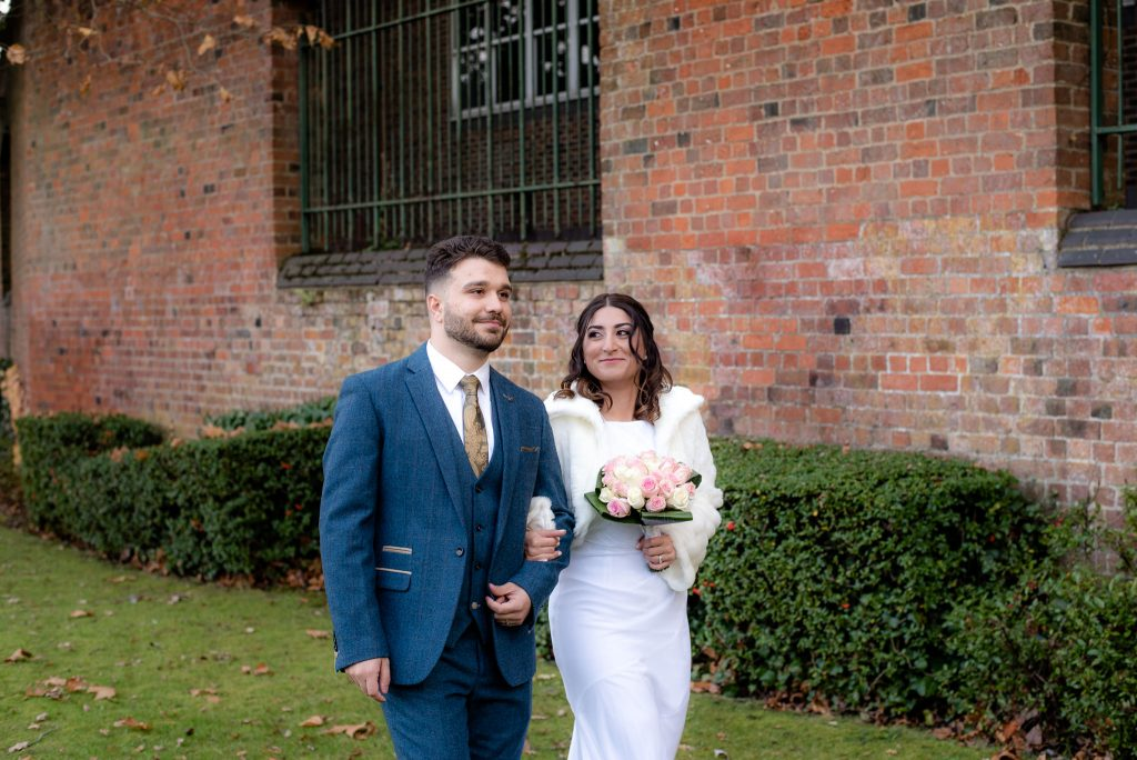 The bride and groom at St Albans Registry Office
