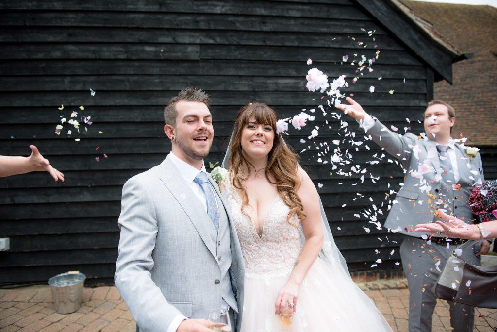 The confetti shot at Tewin Bury Farm