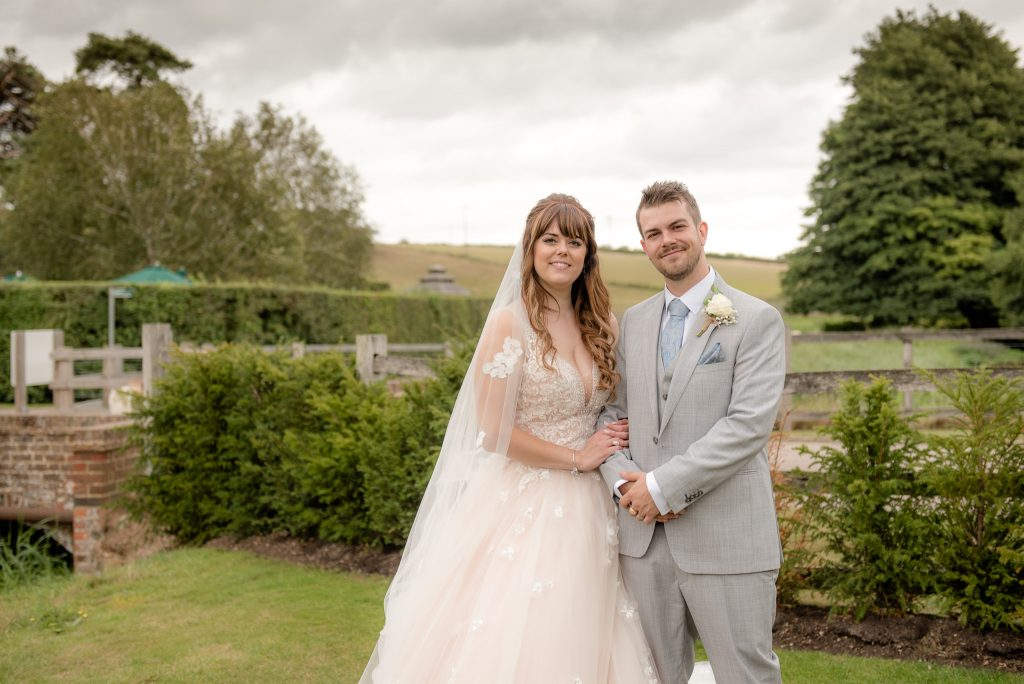 The bride and groom at Tewin Bury Farm
