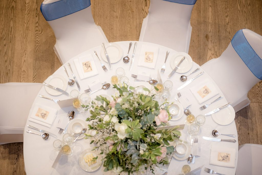A shot looking down onto a wedding table