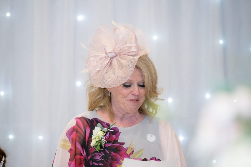 The mother of the bride delivers her speech