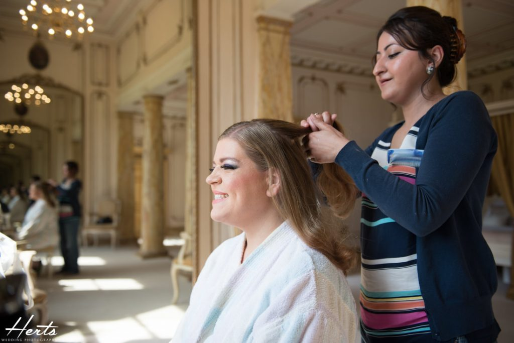 Bridal preparations at Gosfield Hall