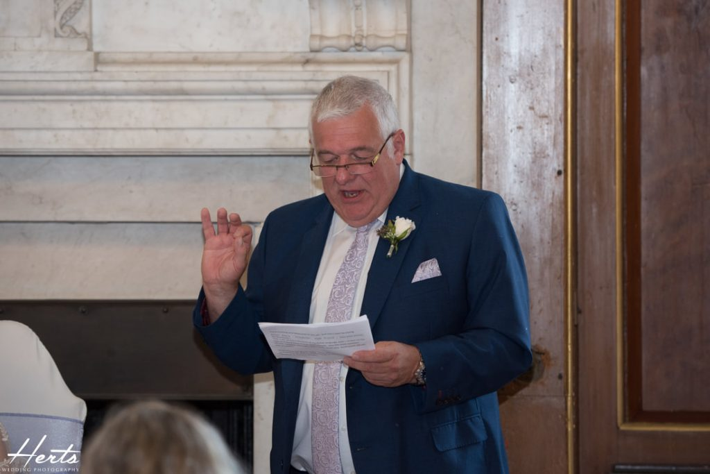 The father of the bride delivers his wedding speech