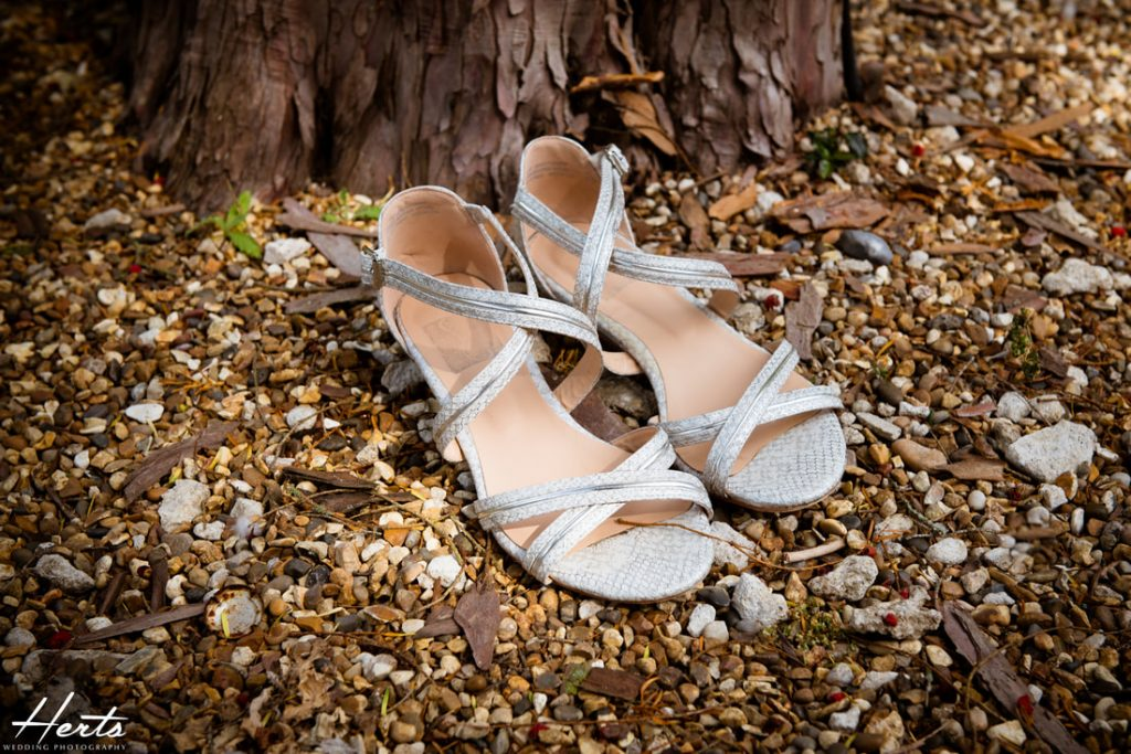 A pair of wedding sandals