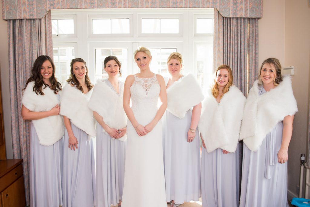The bridal party inside the family home