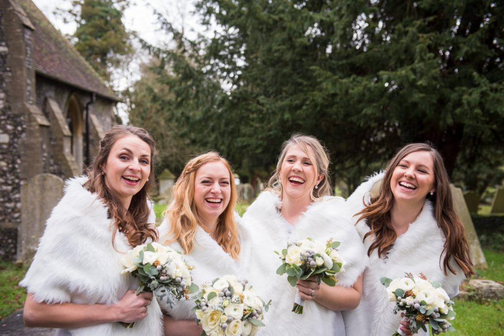 Bridesmaids in the church gardens