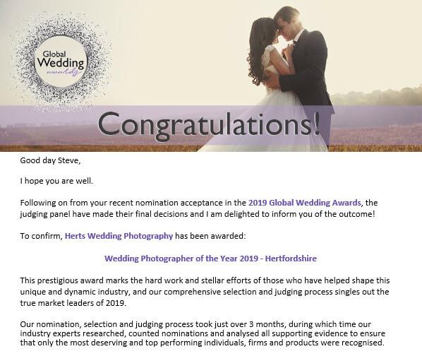 Award Winning Wedding Photographer in Hertfordshire