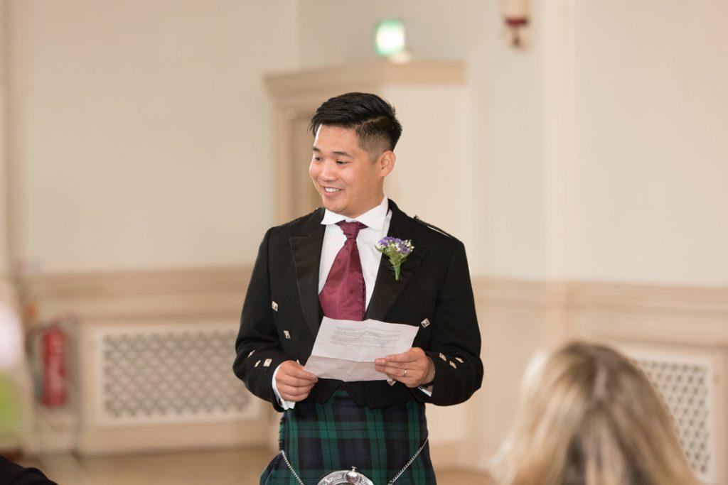 The best man giving a speech
