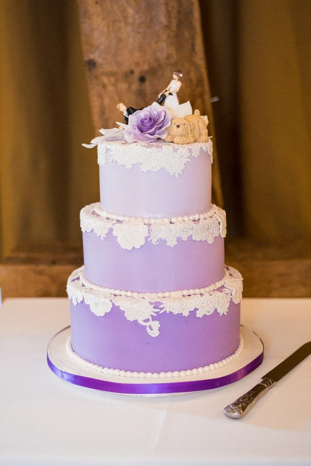 A gorgeous purple wedding cake