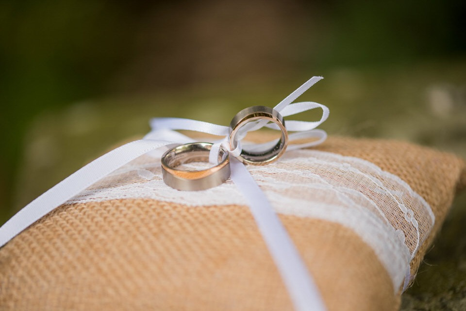 A close up shot of the wedding rings